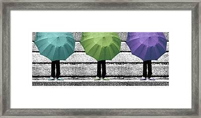 Umbrella Trio Framed Print by Lisa Knechtel