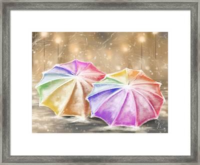 Umbrellas Framed Print by Veronica Minozzi