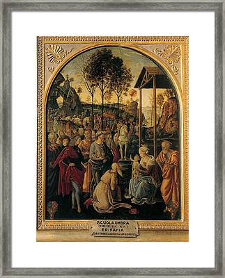 Umbria Artist, End Of 15c, Adoration Framed Print by Everett