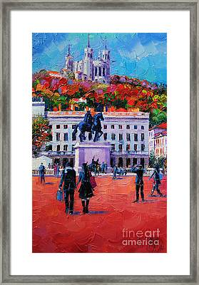 Un Dimanche A Bellecour Framed Print by Mona Edulesco