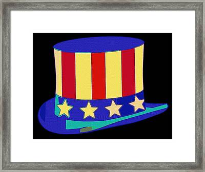 Uncle Sam Hat Pop Art Framed Print by Florian Rodarte