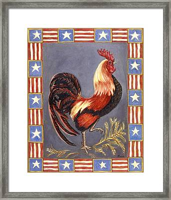 Uncle Sam The Rooster Framed Print by Linda Mears
