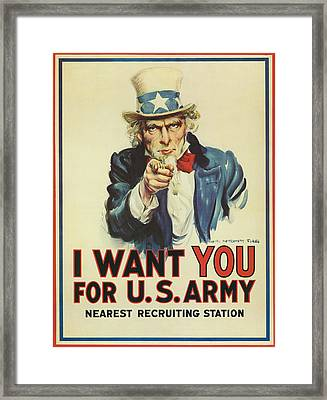 Uncle Sam Wants You Framed Print by Underwood Archives
