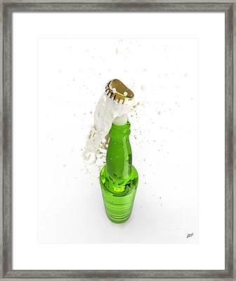 Uncorked Bottle Of Beer Framed Print by Bruno Haver