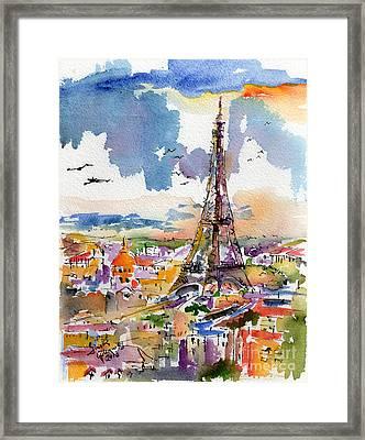 Under Paris Skies Eiffel Tower Framed Print by Ginette Callaway