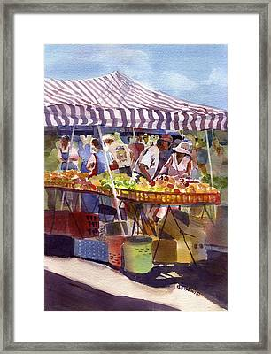 Under The Awning Framed Print by Kris Parins