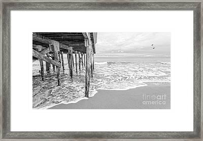 Under The Boardwalk Black And White Framed Print by Edward Fielding