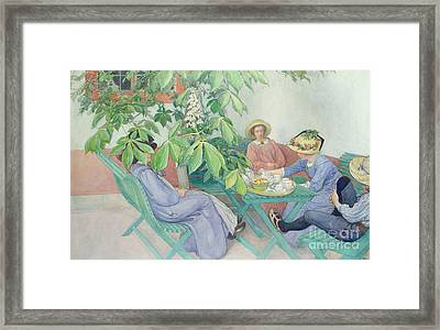 Under The Chestnut Tree Framed Print by Carl Larsson