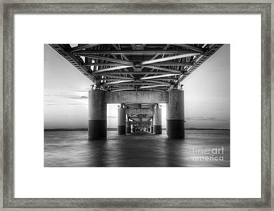 Under The Mackinac Bridge Framed Print by Twenty Two North Photography