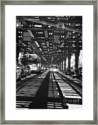 Under The One Train In The Bronx Framed Print by Sarah Loft