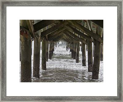 Under The Pawleys Island Pier Framed Print by Sandra Anderson