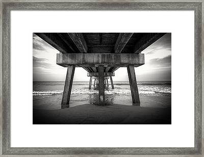 Under The Pier Bw Framed Print by Chris Moore