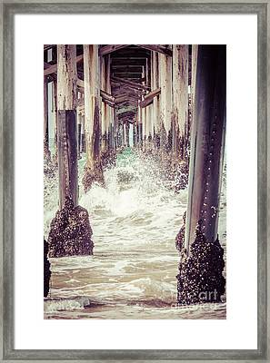 Under The Pier Vintage California Picture Framed Print by Paul Velgos