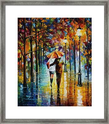 Under The Red Umbrella - Palette Knife Oil Painting On Canvas By Leonid Afremov Framed Print by Leonid Afremov