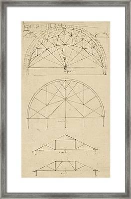 Underdrawing For Building Temporary Arch Framed Print by Leonardo Da Vinci