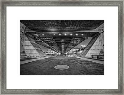 Underneath The Zakim Bridge Bw Framed Print by Susan Candelario