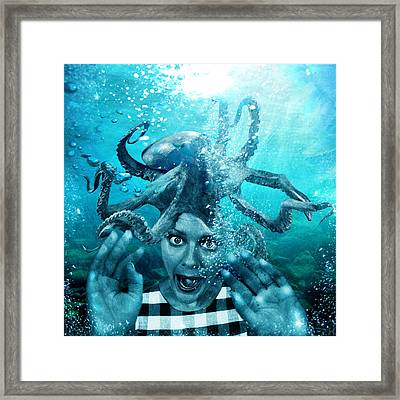 Digital Manipulation Framed Print featuring the digital art Underwater Nightmare by Marian Voicu