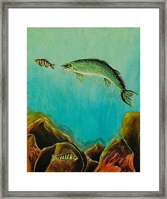 Underwater Predators Panel 1 Framed Print by Jeanne Fischer