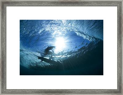 Surfing Into The Eye Framed Print by Sean Davey