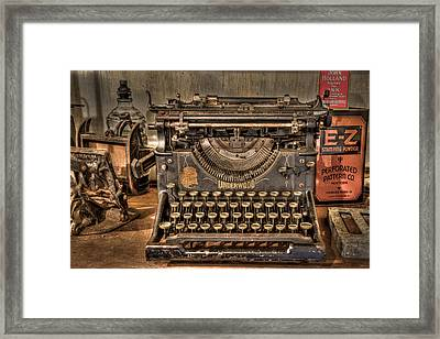 Underwood Typewriter Number 5 Framed Print by Debra and Dave Vanderlaan