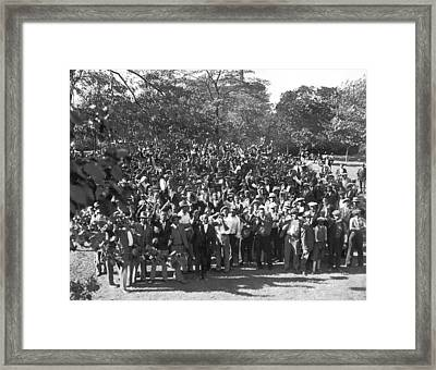 Unemployed Negroes In Chicago Framed Print by Underwood Archives