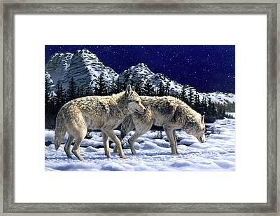 Wolves - Unfamiliar Territory Framed Print by Crista Forest