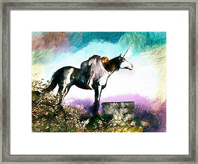 Unicorn Embrace Framed Print by Bob Orsillo