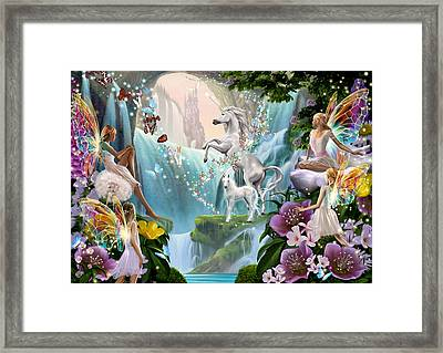 Unicorn And Fairy Waterfall Framed Print by Garry Walton