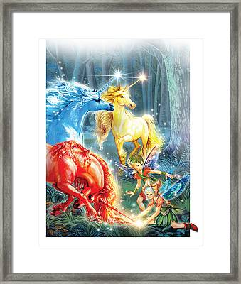 Unicorns And Fairies Framed Print by Zorina Baldescu