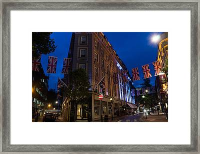 Union Jacks - Flags At Seven Dials Covent Garden London Framed Print by Georgia Mizuleva