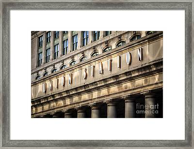 Union Station Chicago Sign And Building Framed Print by Paul Velgos