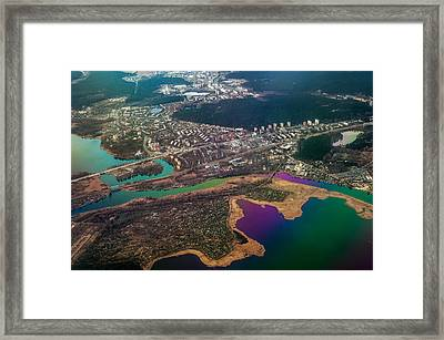 Unique Overview. Rainbow Earth Framed Print by Jenny Rainbow