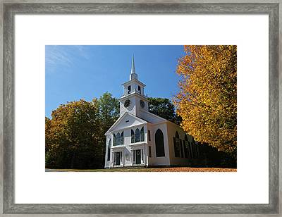 Unitarian Meeting House And Town Clock - Warwick - Massachusetts Framed Print by Juergen Roth