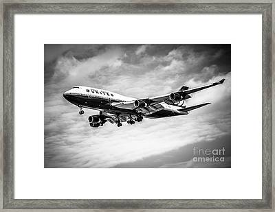 United Airlines Airplane In Black And White Framed Print by Paul Velgos