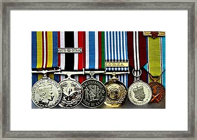 United Nations Peacekeeping Korean War Nato Medals Framed Print by Danielle  Parent