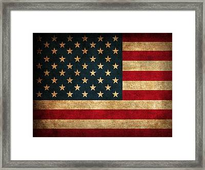 United States American Usa Flag Vintage Distressed Finish On Worn Canvas Framed Print by Design Turnpike
