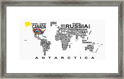 United States And The Rest Of The World In Text Map Framed Print by Daniel Hagerman