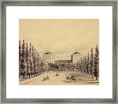 United States Capitol From Pennsylvania Avenue Framed Print by Benjamin Henry Latrobe