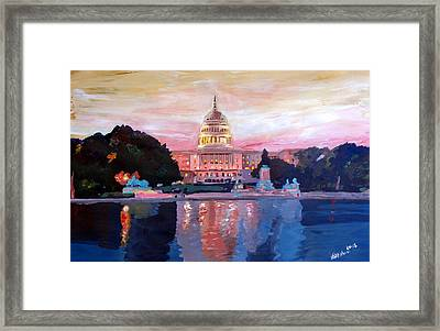United States Capitol In Washington D.c. At Sunset Framed Print by M Bleichner