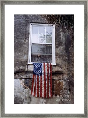 United States Flag - Savannah Georgia Window  Framed Print by Kathy Fornal