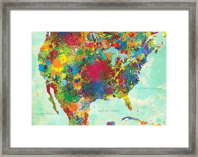 United States Map Framed Print by Gary Grayson