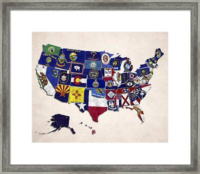 United States Map With Fifty States Framed Print by World Art Prints And Designs