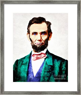 United States President Abraham Lincoln 20140914wc V2 Framed Print by Wingsdomain Art and Photography