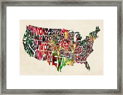 United States Watercolor Map Framed Print by Ayse Deniz