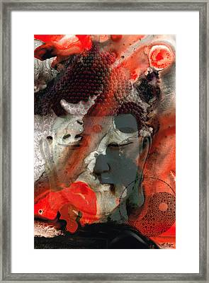 Universal Qi - Zen Black And Red Art Framed Print by Sharon Cummings