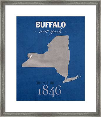 University At Buffalo New York Bulls College Town State Map Poster Series No 022 Framed Print by Design Turnpike