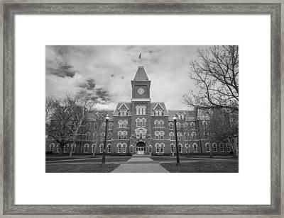University Hall Black And White Framed Print by John McGraw