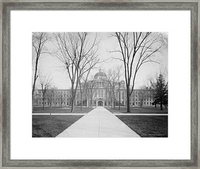University Hall, University Of Michigan, C.1905 Bw Photo Framed Print by Detroit Publishing Co.