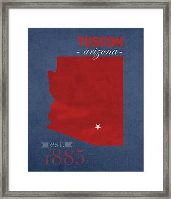 University Of Arizona Wildcats Tuscon Arizona College Town State Map Poster Series No 011 Framed Print by Design Turnpike