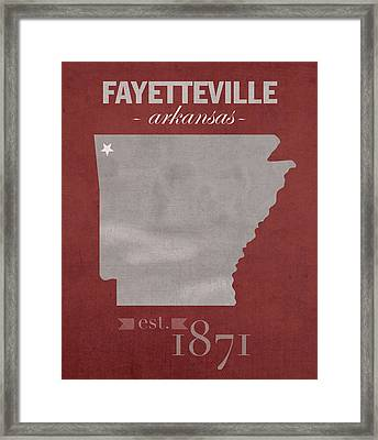 University Of Arkansas Razorbacks Fayetteville College Town State Map Poster Series No 013 Framed Print by Design Turnpike